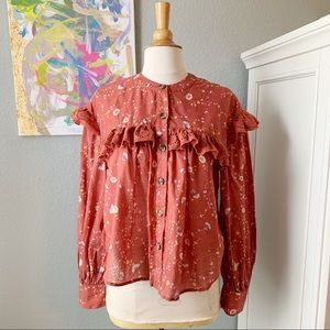 Free People Country Floral Button Up with Lace